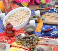 Sacred items placed on the make-shift altar during the Ground Breaking blessing ritual